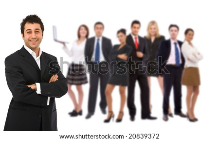 business teamwork concept with lots of people on white, shallow dof - stock photo
