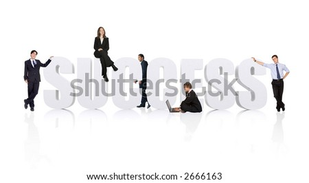business teamwork for success - businesspeople workforce over white - stock photo