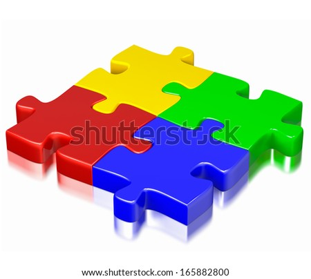 Business, teamwork, partnership, communication cooperation corporate concept:  color red, blue, green and yellow puzzle jigsaw pieces isolated on white background