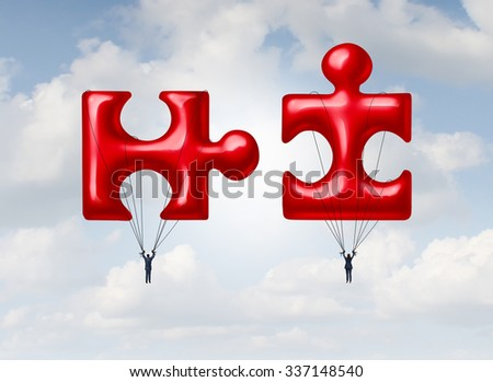 Business teamwork puzzle concept or relationship success metaphor as a couple floating on a red balloon object shaped as a jigsaw pieces joining together for a cooperation or to build a future. - stock photo