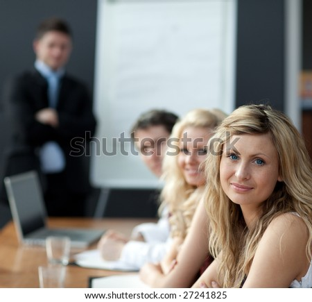 Business teamwork With man giving presentation - stock photo