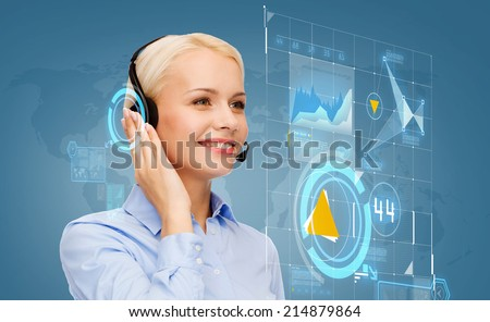business, technology and call center concept - friendly female helpline operator with headphones - stock photo