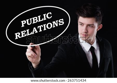 business, technology and internet concept - businessman is writing public relations text - stock photo