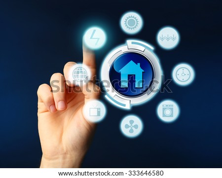 Business, technology and internet concept - businessman pressing button on virtual screen - stock photo