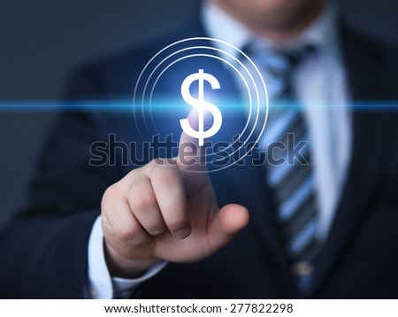 business, technology and internet concept - businessman pressing button with dollar icon on virtual screens