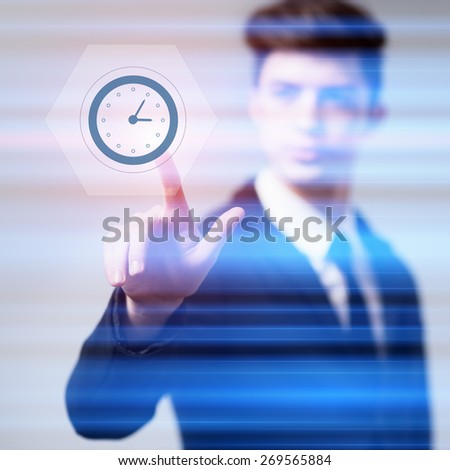 business, technology and internet concept - businessman pressing clock button on virtual screens - stock photo