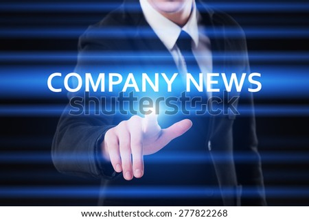 business, technology and internet concept - businessman pressing company news button on virtual screens - stock photo
