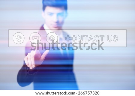 business, technology and internet concept - businessman pressing contact us button on virtual screens - stock photo