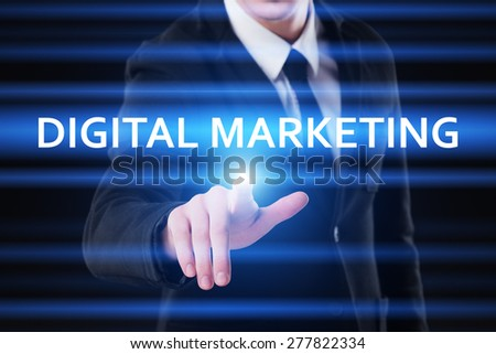 business, technology and internet concept - businessman pressing digital marketing button on virtual screens - stock photo