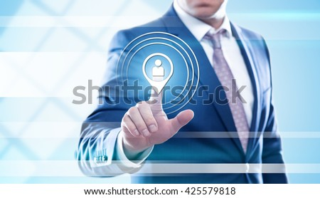 business, technology and internet concept - businessman pressing hr button on virtual screens. Template for text.