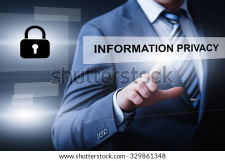 business, technology and internet  concept - businessman pressing information privacy button on virtual screens
