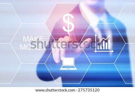 business, technology and internet concept - businessman pressing make money button on virtual screens - stock photo