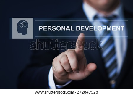 business, technology and internet concept - businessman pressing personal development button on virtual screens - stock photo