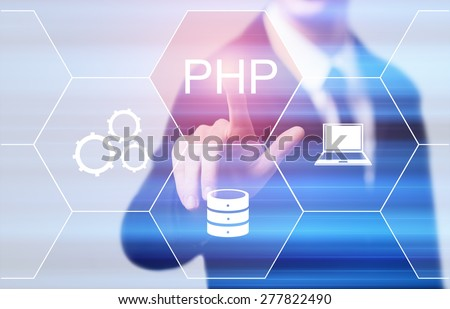 business, technology and internet concept - businessman pressing php button on virtual screens - stock photo