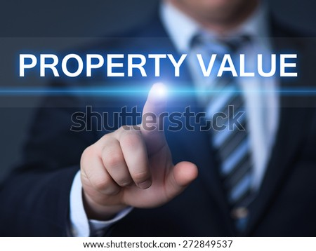 business, technology and internet concept - businessman pressing property value button on virtual screens
