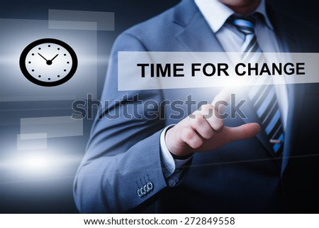 business, technology and internet concept - businessman pressing time for change button on virtual screens - stock photo