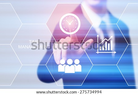 business, technology and internet concept - businessman pressing time management button on virtual screens - stock photo