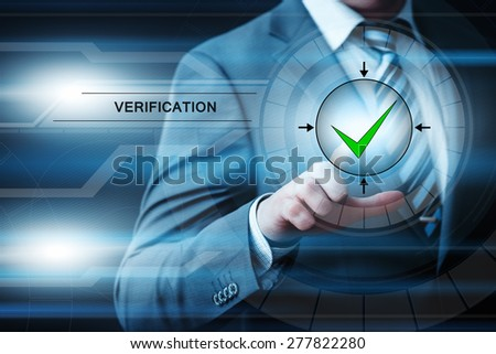 business, technology and internet concept - businessman pressing verification button on virtual screens