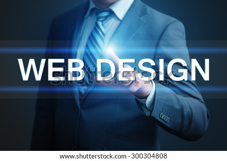 business, technology and internet concept - businessman pressing web design button on virtual screens