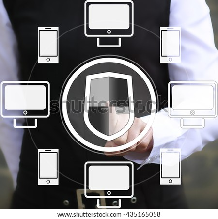 Business, technology and internet concept - businesswoman pressing security button on virtual screens. Digital business security - stock photo