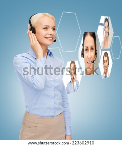 business, technology, call center and people concept - smiling woman helpline operator with headphones - stock photo