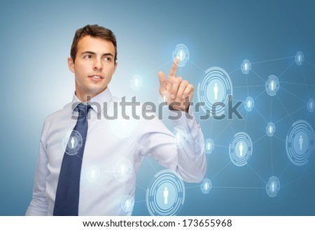 business, technology, communication concept - businessman working business network on imaginary virtual screen - stock photo