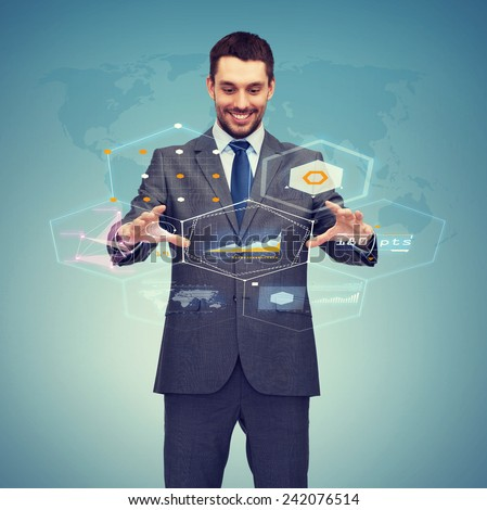 business, technology, communication concept - smiling businessman working with virtual screen - stock photo