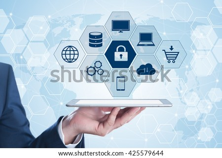 business, technology, cyber security and internet concept. Businessman using modern tablet PC - stock photo