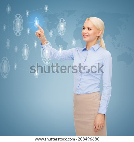 business, technology, future, communication and connection concept - smiling young businesswoman working with virtual screen choosing contacts