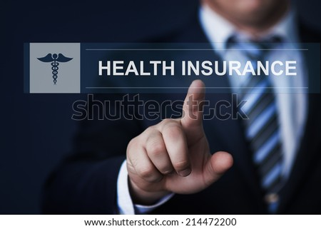 business, technology, healthcare and insurance concept - businessman pressing health insurance button on virtual screens - stock photo