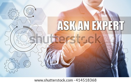 business, technology, internet and customer service concept. Businessman pressing ask an expert button on virtual screens with hexagons and transparent honeycomb - stock photo