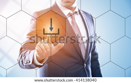 business, technology, internet and e-business concept. Businessman pressing online payment button on virtual screens with hexagons and transparent honeycomb - stock photo