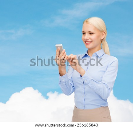 business, technology, internet and education concept - smiling young businesswoman with smartphone over blue sky with white cloud background - stock photo
