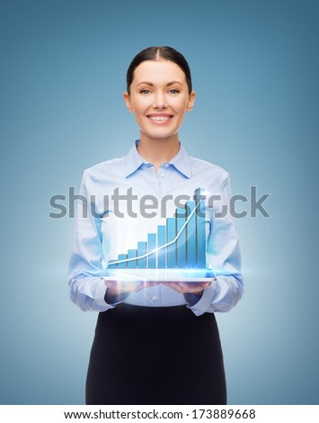 business, technology, internet and investment concept - friendly young smiling businesswoman with tablet pc and graph - stock photo