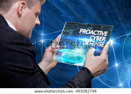 Business, Technology, Internet and network concept. Young business man, working on the tablet of the future, select on the virtual display: Proactive cyber defense