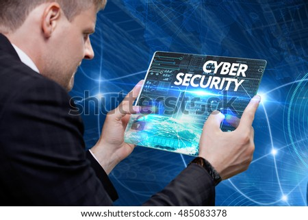 Business, Technology, Internet and network concept. Young business man, working on the tablet of the future, select on the virtual display: Cyber security