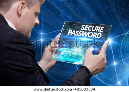 Business, Technology, Internet and network concept. Young business man, working on the tablet of the future, select on the virtual display: security password