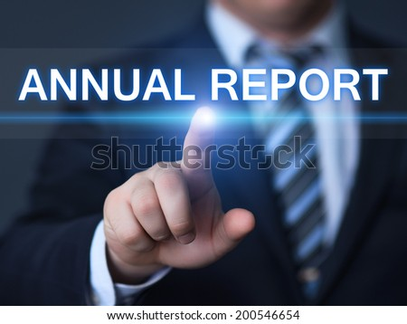 business, technology, internet and networking concept - businessman pressing annual report button on virtual screens  - stock photo