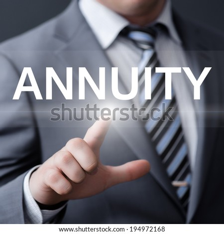 business, technology, internet and networking concept - businessman pressing annuity button on virtual screens - stock photo