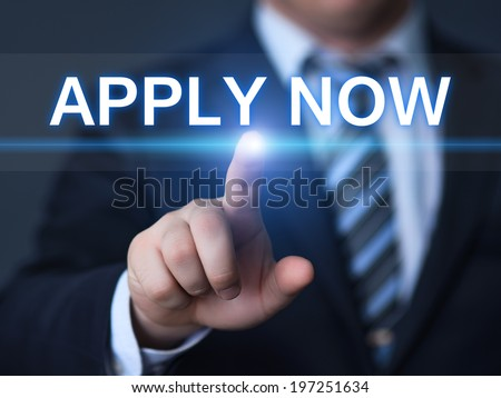 business, technology, internet and networking concept - businessman pressing apply now button on virtual screens - stock photo