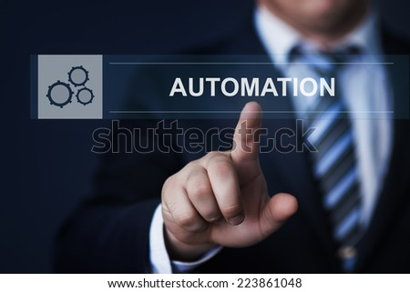 business, technology, internet and networking concept - businessman pressing automation button on virtual screens - stock photo