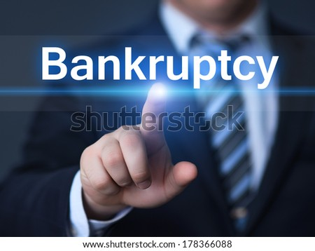 business, technology, internet and networking concept - businessman pressing bankruptcy button on virtual screens - stock photo