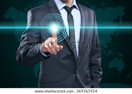 business, technology, internet and networking concept - businessman pressing button with contact on virtual screens. World map