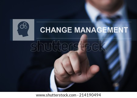 business, technology, internet and networking concept - businessman pressing change management button on virtual screens - stock photo