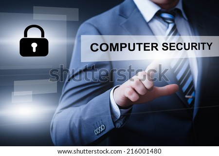 business, technology, internet and networking concept - businessman pressing computer security button on virtual screens - stock photo
