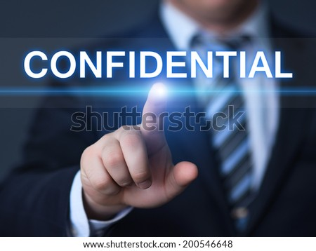 business, technology, internet and networking concept - businessman pressing confidential button on virtual screens  - stock photo