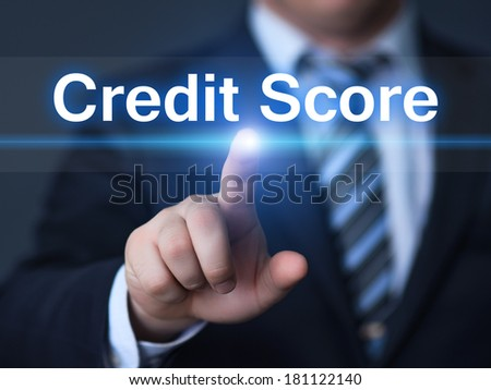 business, technology, internet and networking concept - businessman pressing credit score button on virtual screens - stock photo