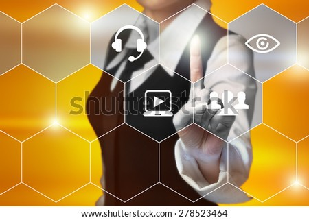 business, technology, internet and networking concept - businessman pressing Customer Support button on virtual screens - stock photo