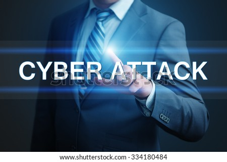 business, technology, internet and networking concept - businessman pressing cyber attack button on virtual screens - stock photo