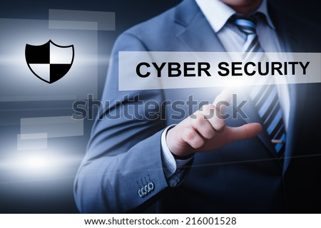business, technology, internet and networking concept - businessman pressing cyber security button on virtual screens - stock photo